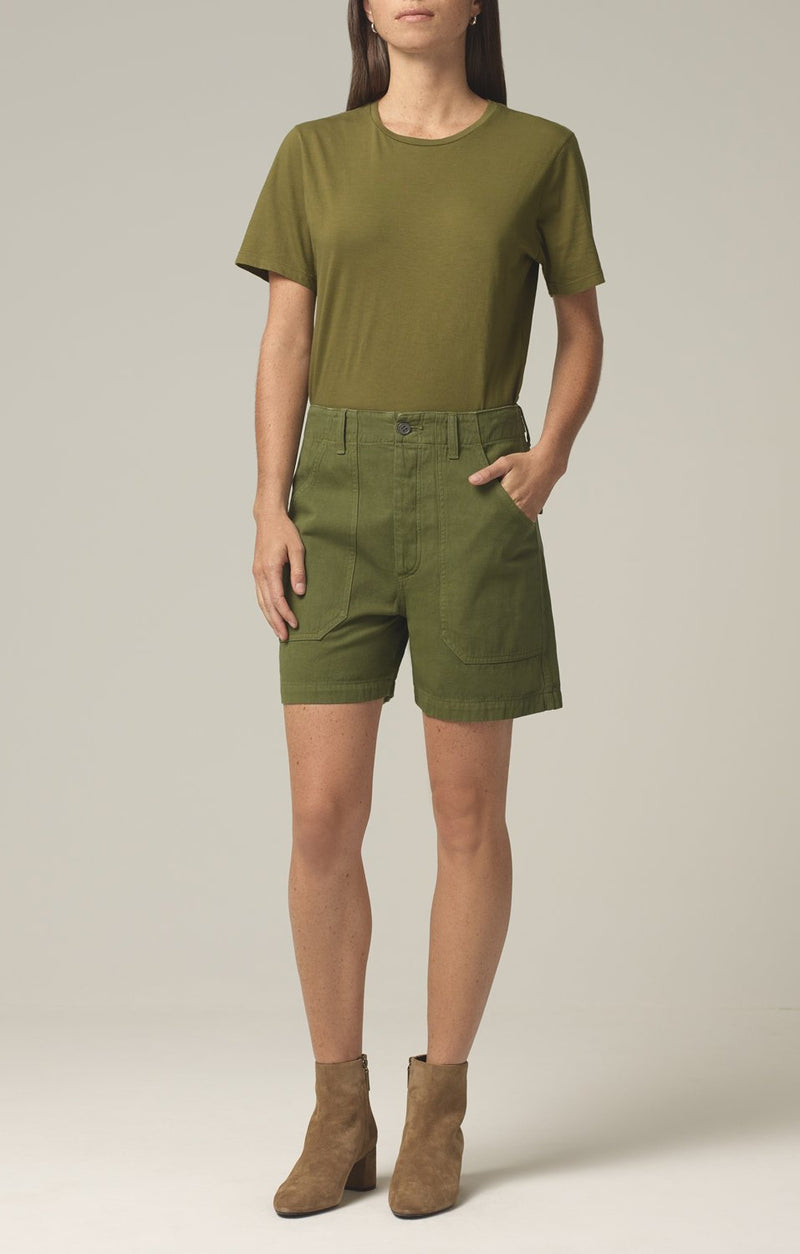 madeline relaxed patched pocket short cactus front