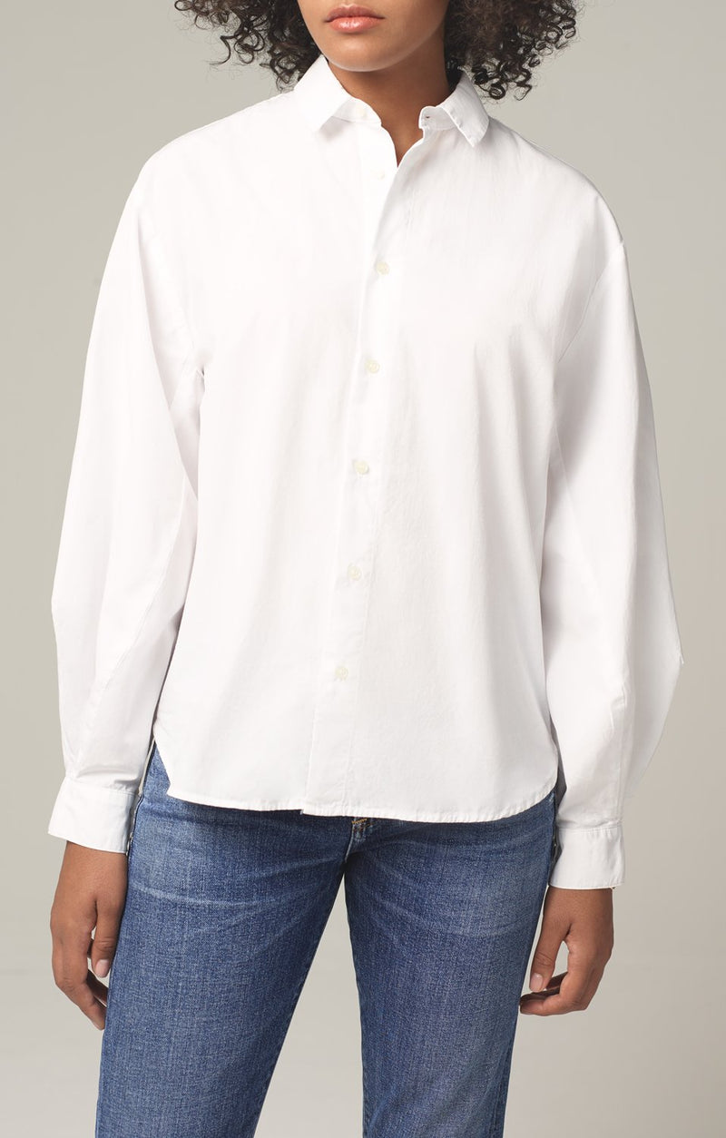 marisa lantern sleeve shirt white side