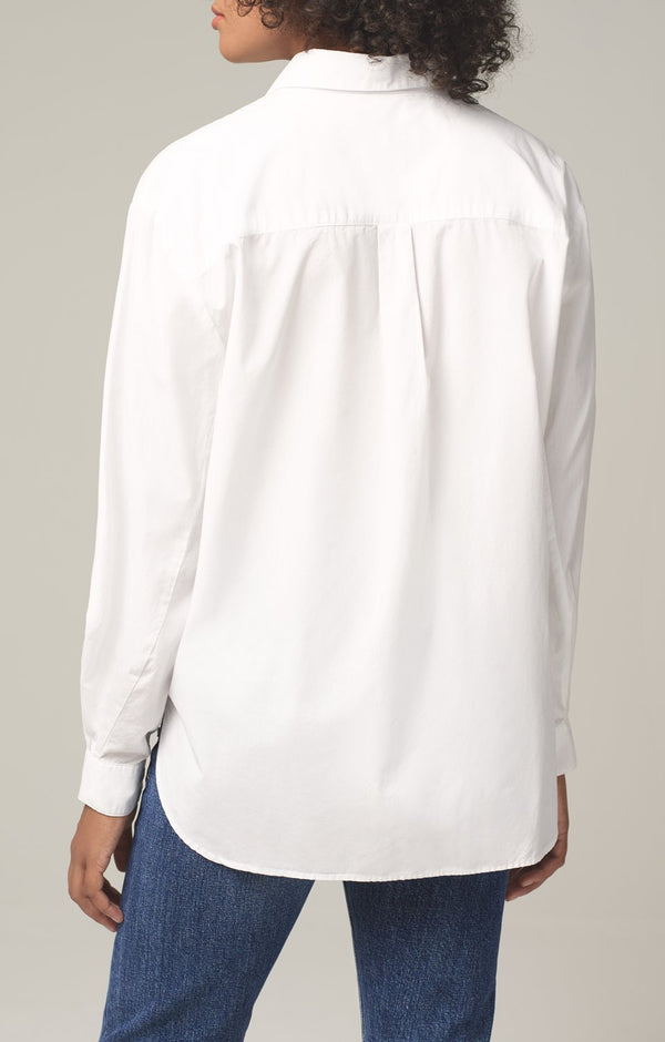 marisa lantern sleeve shirt white back