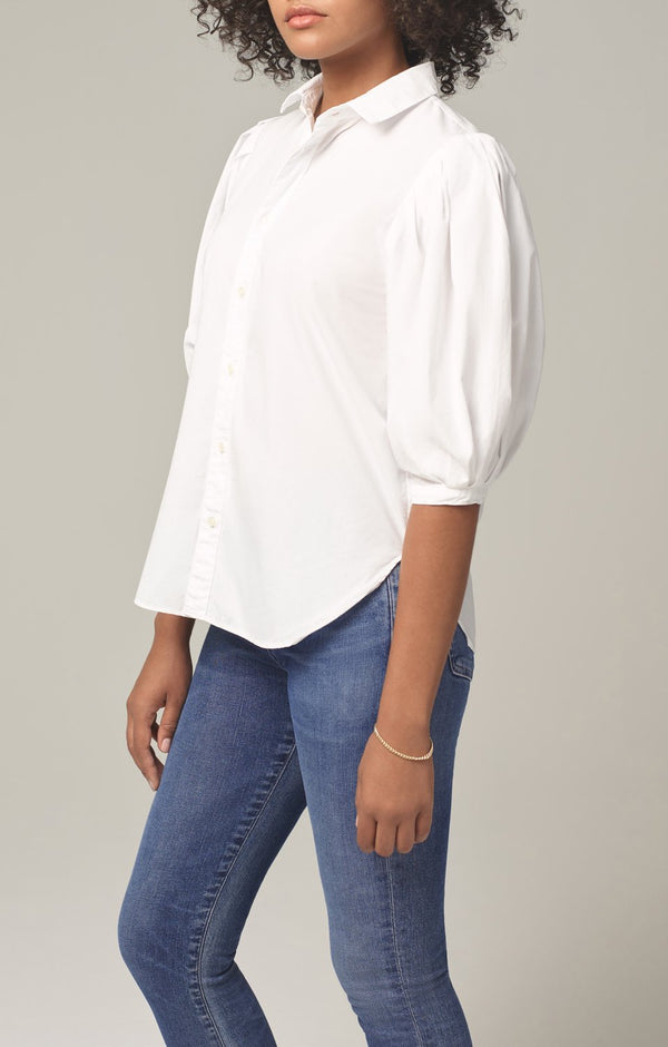 ines pleat half sleeve shirt white side