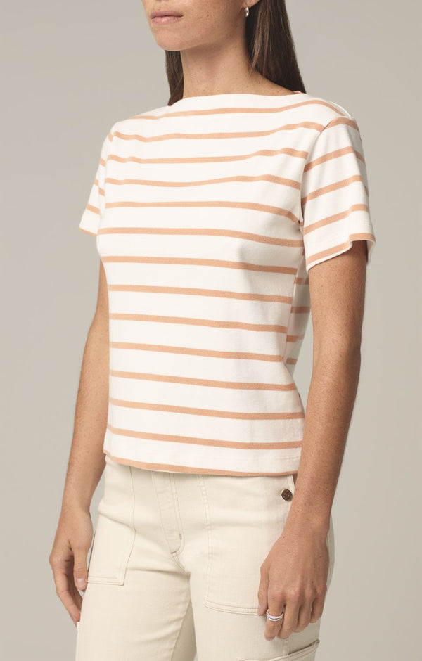 nell boat neck t-shirt penny stripe side