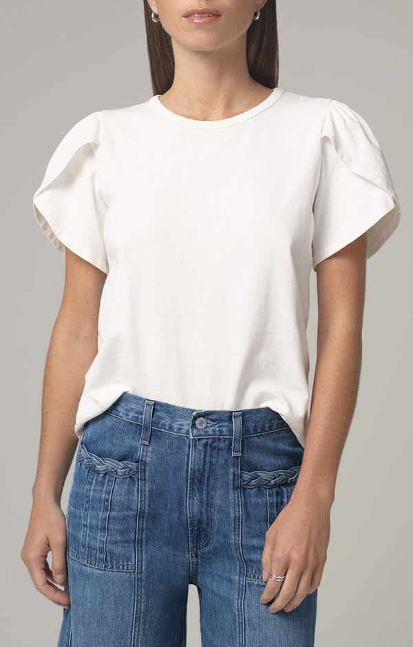 Adele Tulip Sleeve T-Shirt in Chalk