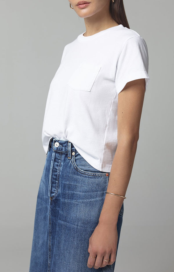 grace pocket tee shirt white side