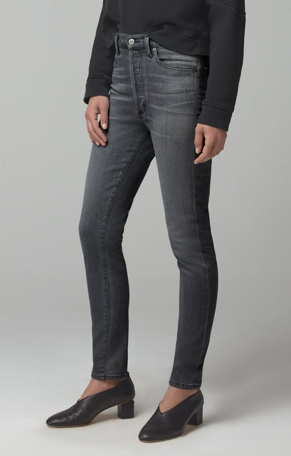 Olivia High Rise Slim Fit in Granite