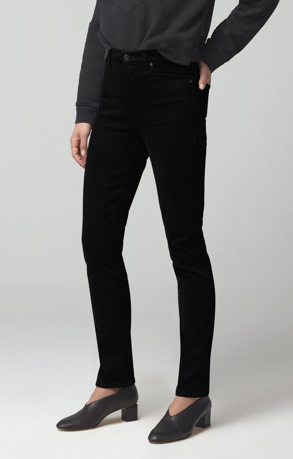 olivia long high rise slim fit sueded black back
