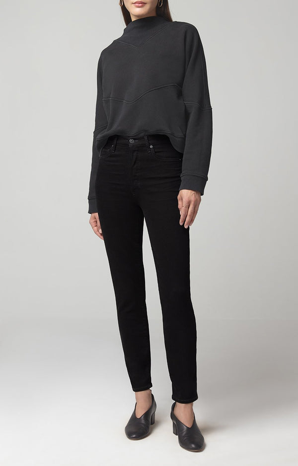 olivia high rise slim fit sueded black front
