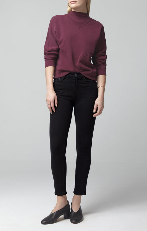 rocket crop mid rise skinny fit plush black front