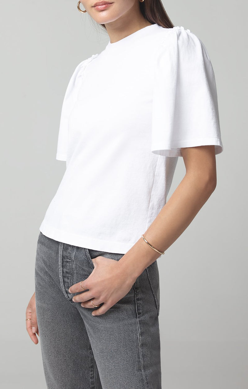 vera gathered shoulder top white front