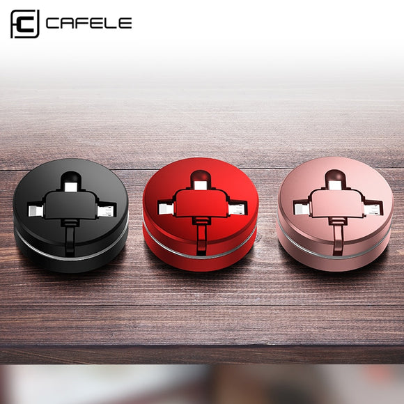 CAFELE Retractable USB Micro cable for iPhone 6 type c charger cable Portable 3 in 1 USB Cable Charging for xiaomi