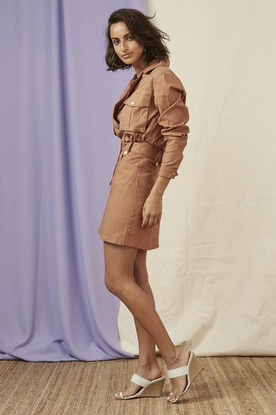 Utility Crop Jacket - Tan