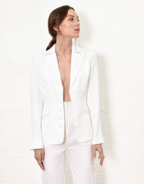 Linen Cinch Waist Jacket - White