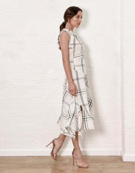 Keyhole Midi Dress - Check Linen