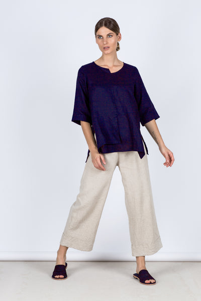 Adele Linen Top - Navy