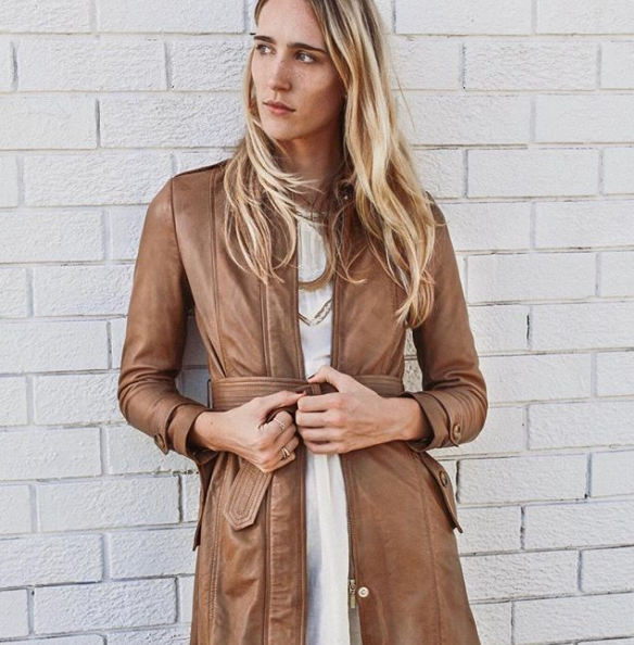Blair Leather Trench Coat - Camel