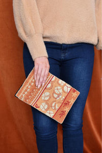Bead Pattern Panels Zip Top Clutch - Tan Peach