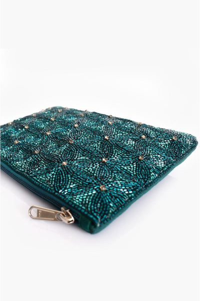 Beaded Daisies Zip Top Clutch - Teal Green