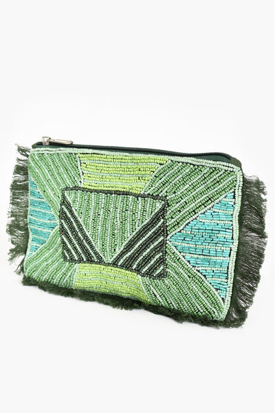 Beaded Fringe Zip Top Pouch Clutch - Green