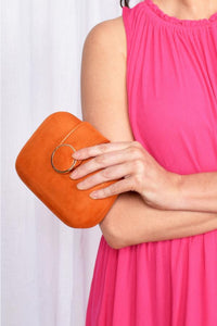 Circle Clasp Structured Clutch - Orange