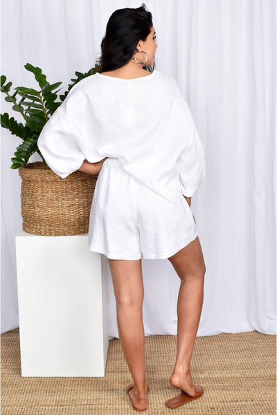 Buy Adorne Billy Linen Shorts in White. Mid Length White Linen Shorts with Drawstring Waist and Matching Linen Top.