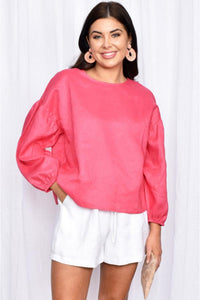Buy Adorne Bonnie Puff Sleeve Linen top in Hot Pink. Bright pink long sleeve linen oversized top.