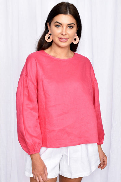 Buy Adorne Bonnie Puff Sleeve Linen top in Hot Pink. Bright pink long sleeve linen oversized top. White Linen Shorts.