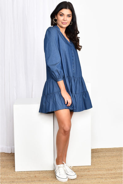 Emma Drop Waist Dress - Denim