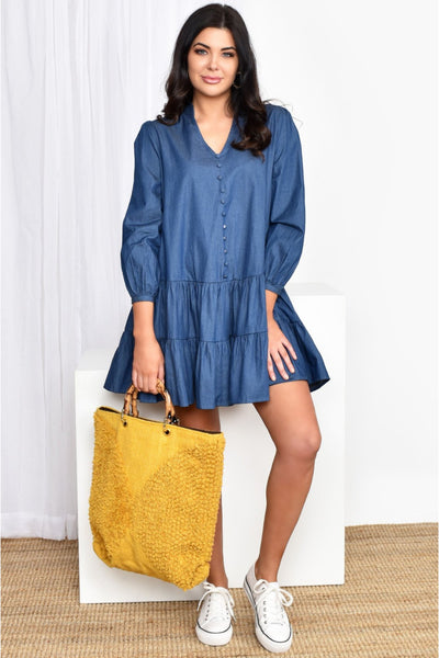Buy Adorne Emma Drop Waist Mini Dress in Denim. Short tiered dress with 3/4 sleeves. Beach Dress and Casual Dresses online Australia.