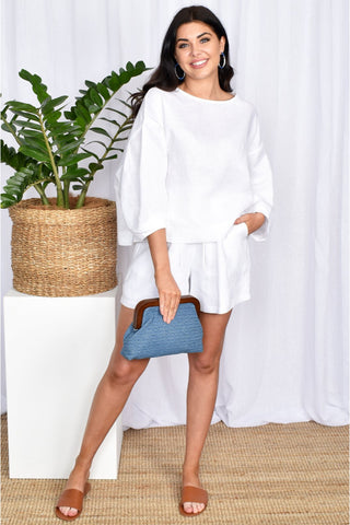 Buy Adorne Heidi Oversized White Linen Blouse and Matching White Linen Shorts. Casual and Beach Clothing online Australian Boutique.