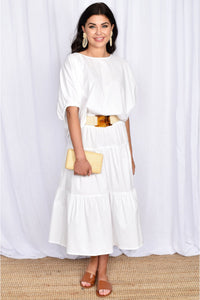 Mia 3 Tiered Shirred Waist Skirt - White