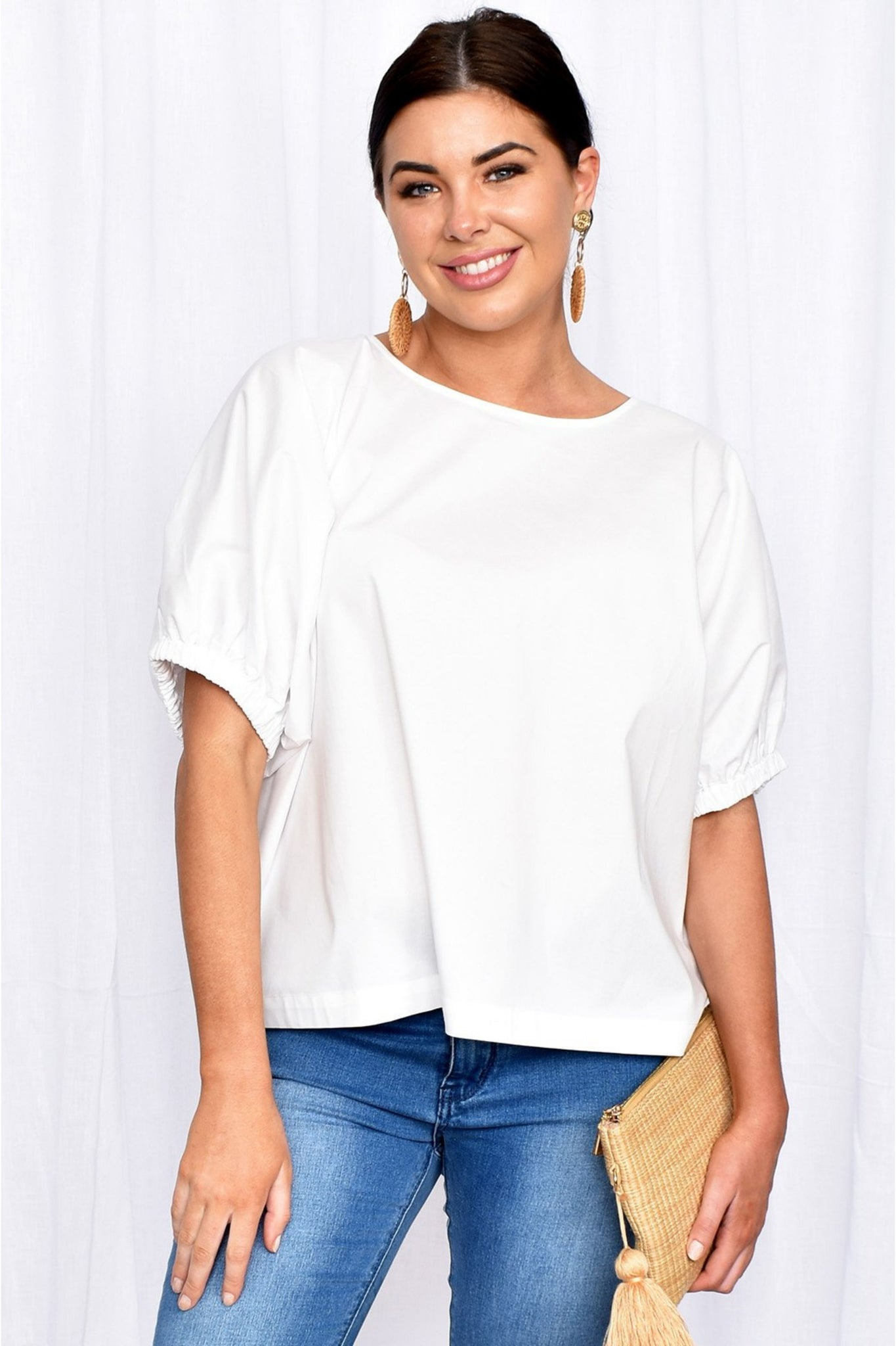 Buy Adorne Pippa Unstructured Top in White online now at Smoke and MIrrors Boutique. Adorne Stockists Brisbane. White Cotton Poplin Oversized blouse with elasticated sleeves.