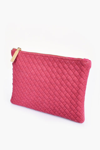 Faux Suede Weave Pouch - Magenta