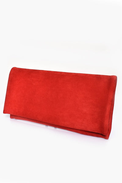 Micro Suede Fold Over Clutch - Red