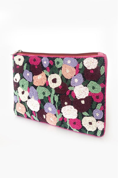 Monets Garden Beaded Zip Top Clutch - Multi