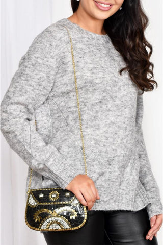 Mosaic Patterned Hard Clutch - Black Gold