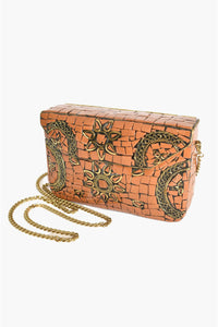Mosaic Patterned Hard Clutch - Tan Gold