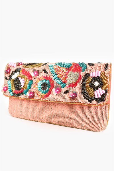 Sequin Floral Beaded Flap Over Clutch - Peach Multi