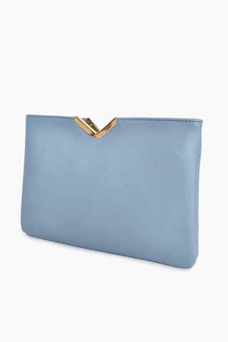 Textured V Detail Clutch - Blue