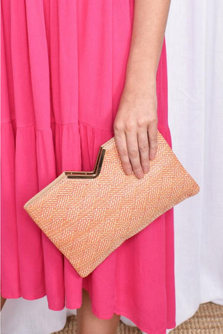 Weave V Detail Clutch - Pink/Orange