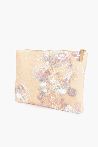 Zip Top Sequin and Embroidered Clutch - Pastel Pink