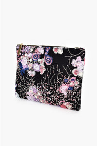 Zip Top Sequin and Embroidered Clutch - Black/Purple