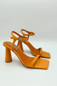 Caverley Maple Heel Orange Sherbet. Orange Leather Block Heels for cocktail shoes.