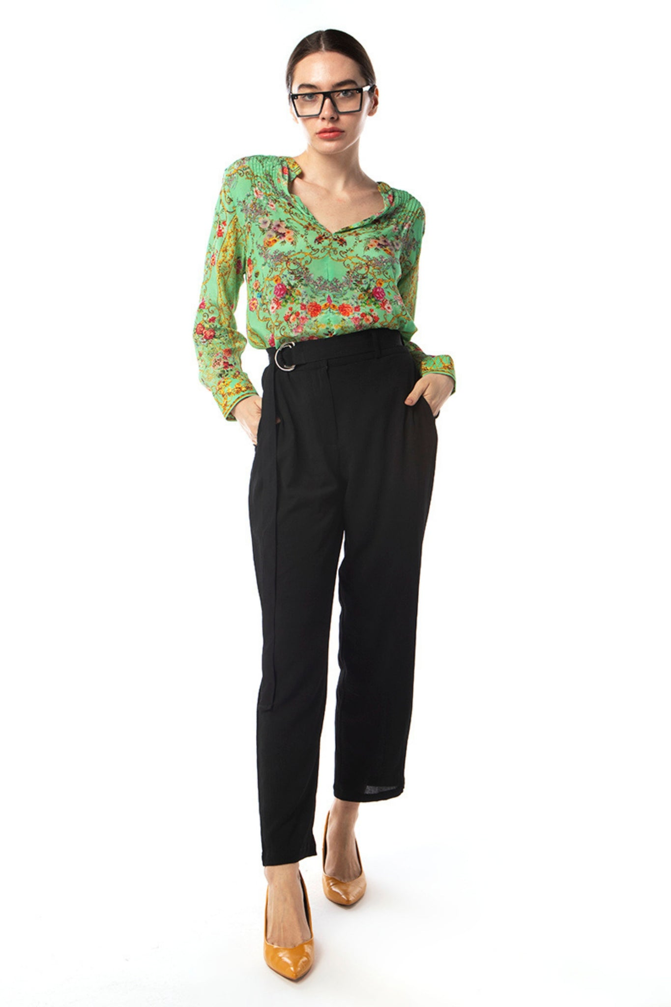 Buy Inoa Silk Blouson Pintuck Blouse in Chartreuse Green and Floral Print