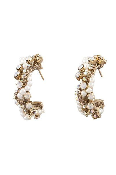 Jolie and Deen Delilah Pearl Hoop Earrings Online. Statement Swarovski Crystal and Fresh Water Pearl Evening Earrings.
