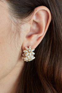 Jolie and Deen Eden Pearl Hoop Earrings with Swarovski Crystal flower design. Delicate flower pearl earrings.