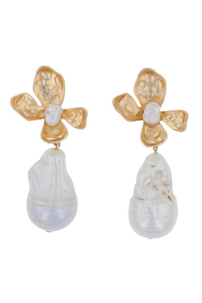 Jolie and Deen Natural Pearl Flower Drop Earring. Statement Freshwater Pearl Earrings.