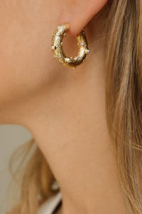 Jolie and Deen Logan Hoop Earrings are a statement textured mid sized gold hoop with pearl and crystal detail.