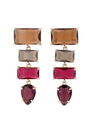 Jolie and Deen Formal Earrings in Tan, Grey, Pink, and Purple. Cocktail Earrings Online Australia.