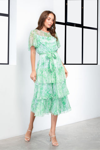Kamare Collective Doheny Dress in Fern silk. Feminine, tiered dress in Green. Mother of the Bride Dresses Australia.