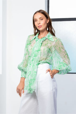 Kamare Collective Milla Blouse in Fern. Green and White print Silk Pussy Bow Blouse with statement sleeve and collar.