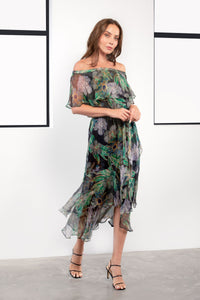 Kamare Collective Misha Silk Dress in Midnight Bloom. Mother of the Bride and Groom Dresses Australia. Off the Shoulder black and green floral midi dress.